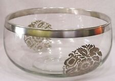 Vintage Glass Bowl Signed Georges Briard Silvertone Pattern on Sides