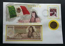 Mexico Juana de Asbaje 1996 Famous FDC (banknote coin cover) 3 in1 *rare *c scan