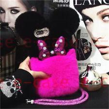 Luxury Bling Cute Cartoon Rabbit BOW Fluffy Fur Hybird Diamond CASE For Phones