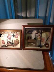 2 VTG Baseball Nostalgia shadow box Diorama, Detailed!