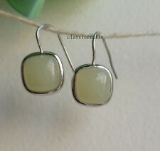 Genuine light green hetian jade in 925 sterling silver hook earrings