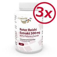 3er Pack Premium Roter Reishi Extrakt 500mg 40% Polysaccharide 3 x 100 Kapseln
