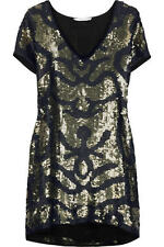 Brand New SASS & BIDE 'The Brightest Darkness' Hand Sequinned Silk Dress Sz 8-10