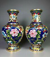 Noble decor fengshui China Palace Cloisonne Enamel Brass Flower bottle pair vase