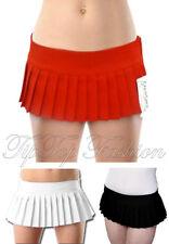 "New Girls/Ladies Plain Micro Mini Short Skirt 7"" Pleated Red Black White Skirts"