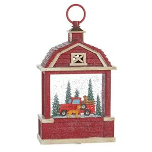 """Raz Imports Holiday Water Lanterns 10.75"""" Truck and Dogs Lighted Water Barn."""