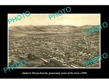OLD LARGE HISTORIC PHOTO OF AMHERST MASSACHUSETTS, PANORAMA OF THE TOWN c1890