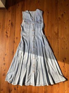 Vintage 90's Denim Dress Sz 8 With Pockets