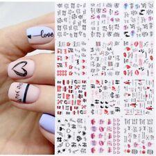 12pcs Manicure Love Letter Flower Sliders for Nails Inscriptions stickers