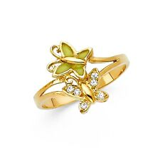 CZ Butterfly Ring Solid 14k Yellow Gold Two Butterflies Band Curve Style Fancy
