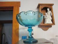Vintage Indiana Glass Garland Teardrop Aqua Blue Pedestal Compote Fruit Bowl