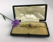 victorian 15ct gold bar brooch pearl amethyst Yorkshire Goldsmith leather box