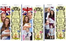 PRINCE William George Louis PRINCESS CHARLOTTE BOOKMARK-Baby Birth Announcement