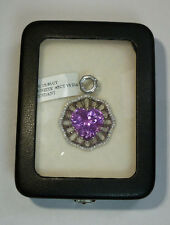 14k White Gold 16.26ctw Natural Afghanistan Heart Kunzite & Diamond Pendant