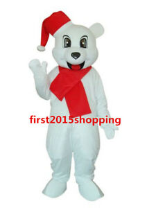 New Year White Bear Mascot Costume Cosplay Cartoon For Birthday Party Suit Dress
