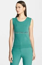 St. John Yellow Label Chevron Knit Scoop Neck Shell Green Size Medium NEW $295