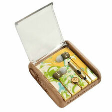 Skullcandy Holua Gold Mic'd Ear Buds New in Wood with Case in Line Microphone