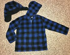 Little Boys 4T Crazy 8 Black & Blue Plaid Fleece 1/2 Zip Pullover & Matching Hat
