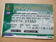 Tickets: 2005 Carling CUP 4th RD- WIGAN ATHLETIC v NEWCASTLE, 30 November