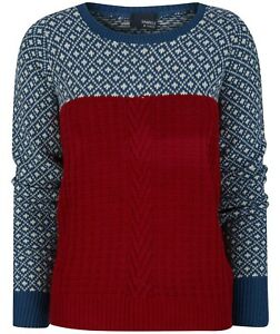 Brand New Ladies Cable Knit Contrast Jumper Sizes S/M M/L 8 10 12 14