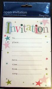 20 General Party Invitations With Envelopes -  Simon Elvin Brand