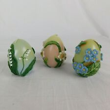 Set of 3 Fitz & Floyd 2001 Boxed Elegant Easter Eggs 3D Flowers Candles Floral