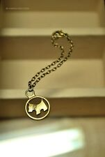 Chain Doll Necklace w/ Scottie Puppy Round Pendant (Antique Gold/Bronze Plated)