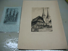 CRUSS AUS  LUZERN POSTCARD & ETCHING PRINT  SIGNED  VINT. ORIGINAL  NICE !!