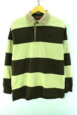*Kappa Men's Polo Shirt Size M Multi Color Striped Long Sleeve Cotton EF2886