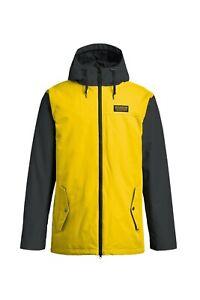 Snowboard Ski Jacket Men's Large Black Yellow Airblaster Toaster Jacket YOLO