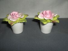2 Vintage Coalport Bone China Porcelain Mini Pink Roses Salt &  Pepper Shakers