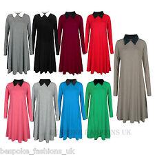 Women's Peter Pan Collar Ladies Long Sleeve Jersey Swing Dress Plus Size 8-22