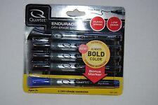 Quartet Enduraglide Clean Erase, Low Odor Dry Erase Marker 4 Black, 1 Blue, Fine