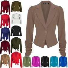 Womens Ladies Collared Plain 6 Buttons Ruched Sleeve Blazer Jacket Casual Coat