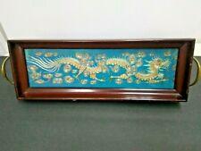 Chinese Hand Embroidered Tea Tray Silver Gold Thread Republic Era Dragon Motif