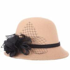 Elegant Lady Women Winter Flower Cloche Wool Felt Bucket Fishing Bowler Hat Cap