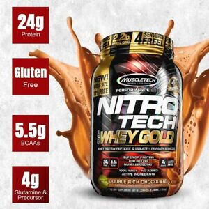 MuscleTech Nitro Tech Whey Gold Protein 2.2 lb Bonus Size, DOUBLE RICH CHOCOLATE