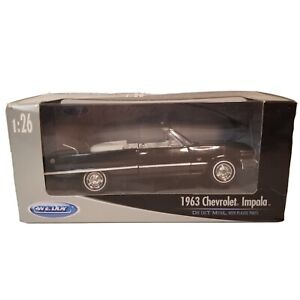 Welly 1963 Chevrolet Impala Convertible Metal Diecast Black 1:26 Scale 22434W