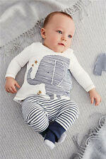 Baby Boy Long Sleeve Cartoon Elephant Shirt TOP and Stripe Pants & HAT Outfit 6M