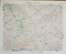 1955 LARGE MAP GERMANY SOUTH WEST FRANKFURT MANNHEIM RHEINLAND THURINGEN