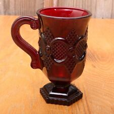 Vintage 1876 Avon Cape Cod Ruby Red Glass Footed Pedestal Mug Coffee Handle Cup