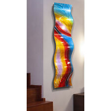 Abstract Metal Wall Art- Large Wave Sculpture - Red Blue Yellow -  By Jon Allen