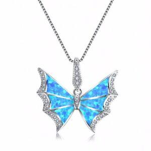 Feuer Opal Halskette Anhänger Kette Schmetterling Zirkonia