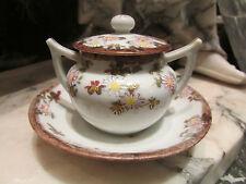 ancien petit moutardier en porcelaine fine decor floral epoque 1920
