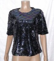 V By Very SEQUIN CROPPED BOXY TOP Size 12 BNWT