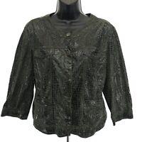 Ruby Rd Petite Lightweight Jacket 16P Mandarin Collar 3/4 Sleeve Snakeskin Print