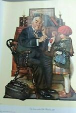 "Vintage 1972 Art Print Lithograph Norman Rockwell Canvas ""The Doctor & The Doll"