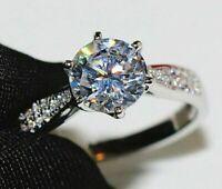 3.10Ct Round Cut Moissanite Engagement Wedding Ring Solid 14K White Gold Finish
