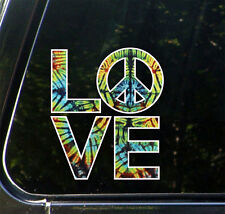 "CLR:CAR LOVE Sculpture Peace Sign Tie Dye - Vinyl Car Decal ©YYDC(4.8""wX 5.5""w)"