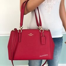 NEW! COACH Crossgrain Leather Carryall Shoulder Crossbody Bag in Bright Pink